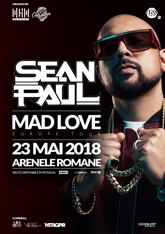 """{focus_keyword} Sean Paul se oprește și în România în turneul mondial """"Mad Love"""" Afis Sean Paul"""